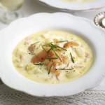 Zupa chrzanowa z wędzonym białym serem i łososiem!